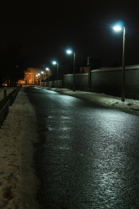 Streetlights on a Winter night by user ColinBrough on rgbstock.com